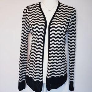 Ann Taylor Loft Striped Black White Open Cardigan